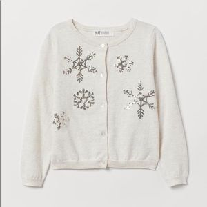 NWT H&M Off White Fine Knit Sequined Cardigan 4-6Y